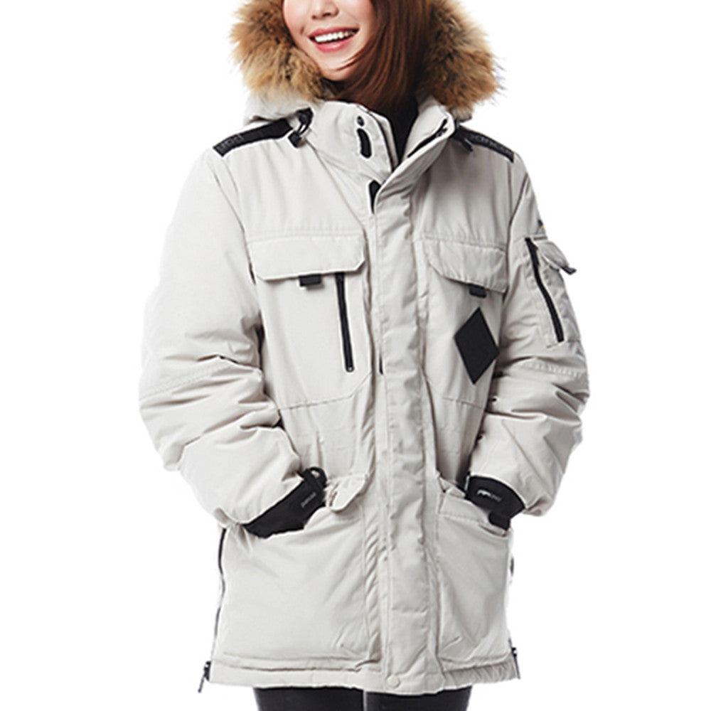 Winter Couple Design Loose Middle Long Thick Down Coat    beige   XS - Mega Save Wholesale & Retail - 3