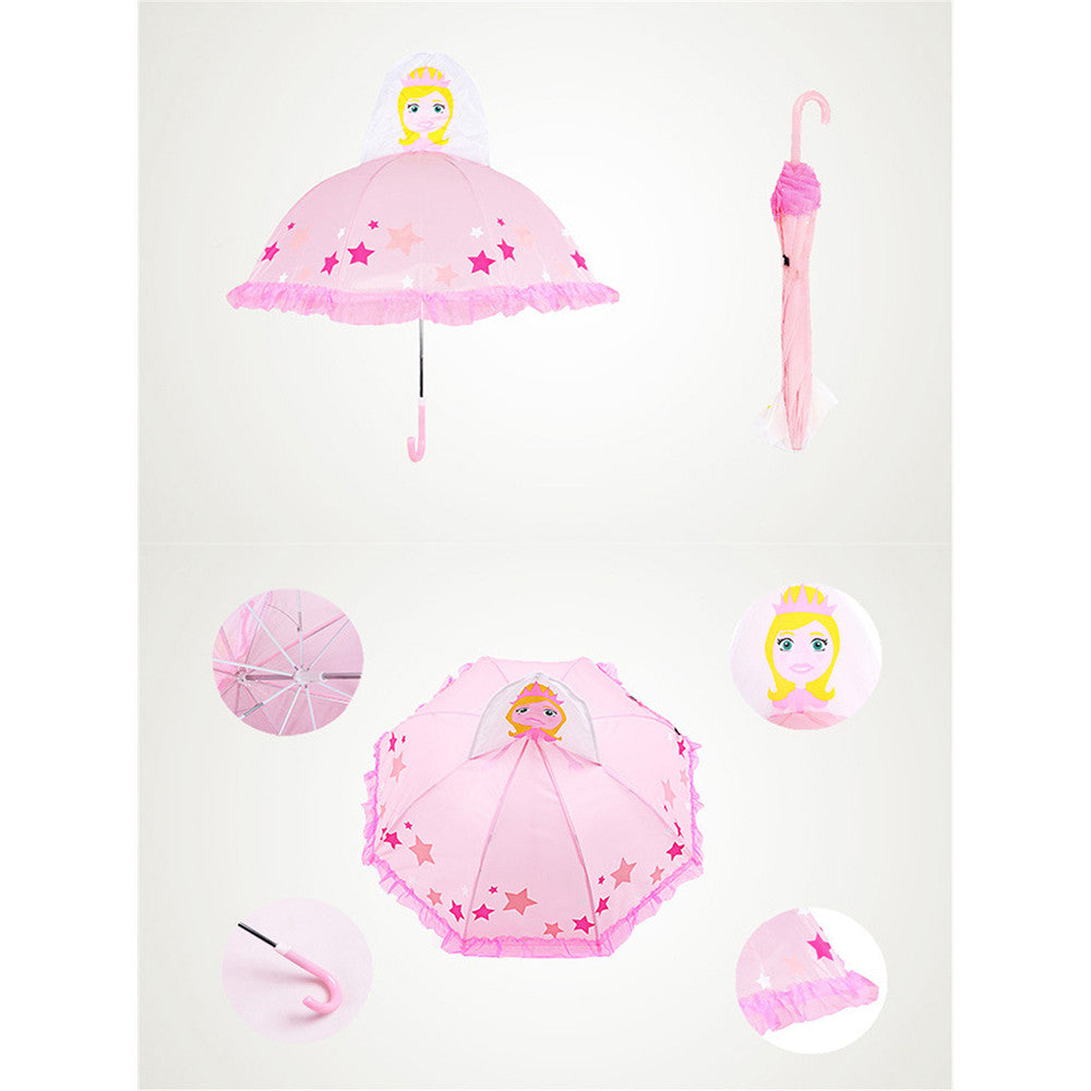 Cute Cartoon Animal Umbrella for Kids Animal Ears Bend Handle   Wire edge princess - Mega Save Wholesale & Retail