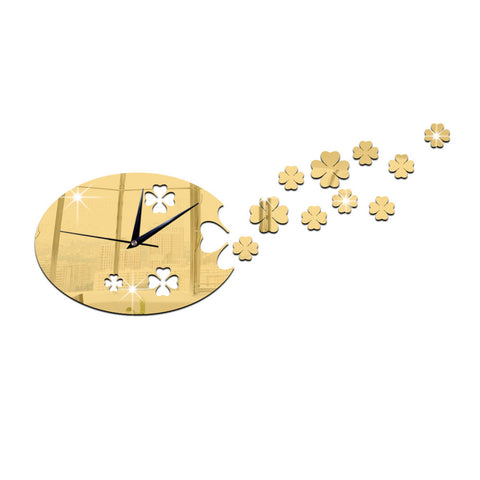 Lucky Clover Mirror Living Room Creative Wall Clock   golden - Mega Save Wholesale & Retail