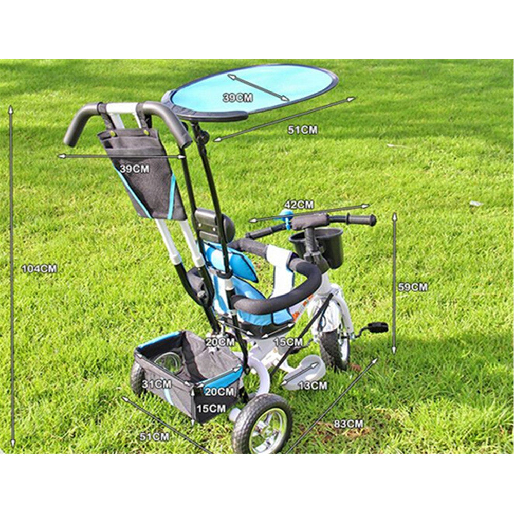 4 in 1  Baby Stroller Tricycle Trolley Carriage Bike Bicycle Wheels Walker with Harness - Mega Save Wholesale & Retail - 4