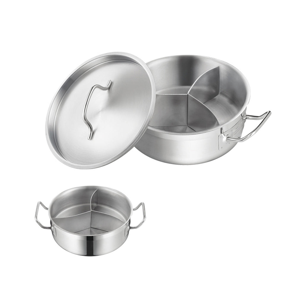 Stainless steel Three-flavor Hot Pot with Sandwich Bottom (03 style)   240*90 - Mega Save Wholesale & Retail