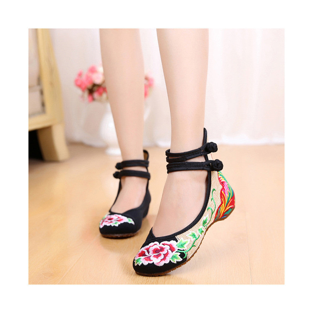 Old Beijing Cowhell Sole Womens Black Buckle Shoes in National Style with Floral Embroidery Designs & Double Straps - Mega Save Wholesale & Retail - 1