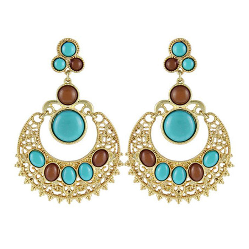 Ethnic Colorful Alloy diamond crescent earrings   SKY BLUE+COFFEE - Mega Save Wholesale & Retail - 1