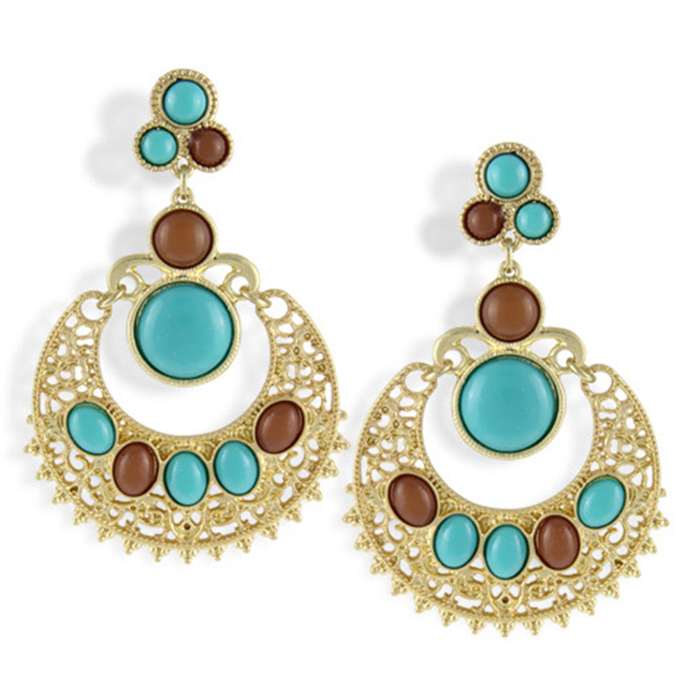 Ethnic Colorful Alloy diamond crescent earrings   SKY BLUE+COFFEE - Mega Save Wholesale & Retail - 2