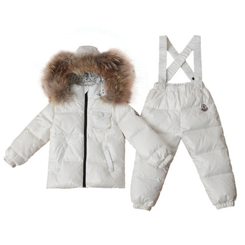 Child Thick Down Coat Racoon Fur Collar Warm Trousers   white   S - Mega Save Wholesale & Retail - 1