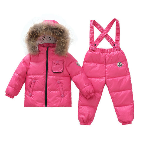 Child Thick Down Coat Racoon Fur Collar Warm Trousers   pink   S - Mega Save Wholesale & Retail - 1
