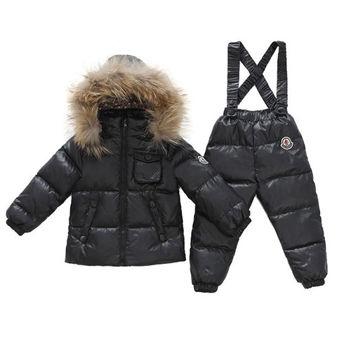 Child Thick Down Coat Racoon Fur Collar Warm Trousers  black   S - Mega Save Wholesale & Retail - 1