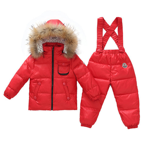 Child Thick Down Coat Racoon Fur Collar Warm Trousers   red   S - Mega Save Wholesale & Retail - 1