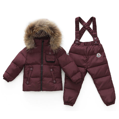 Child Thick Down Coat Racoon Fur Collar Warm Trousers   wine red  S - Mega Save Wholesale & Retail - 1