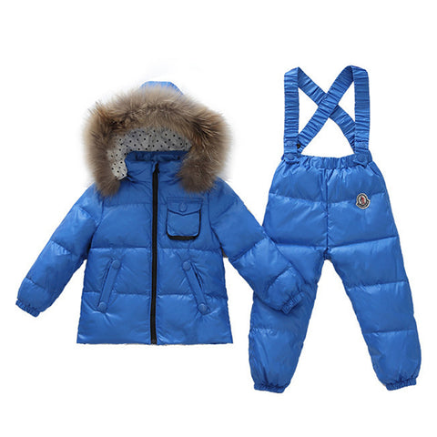Child Thick Down Coat Racoon Fur Collar Warm Trousers   dark blue   S - Mega Save Wholesale & Retail - 1