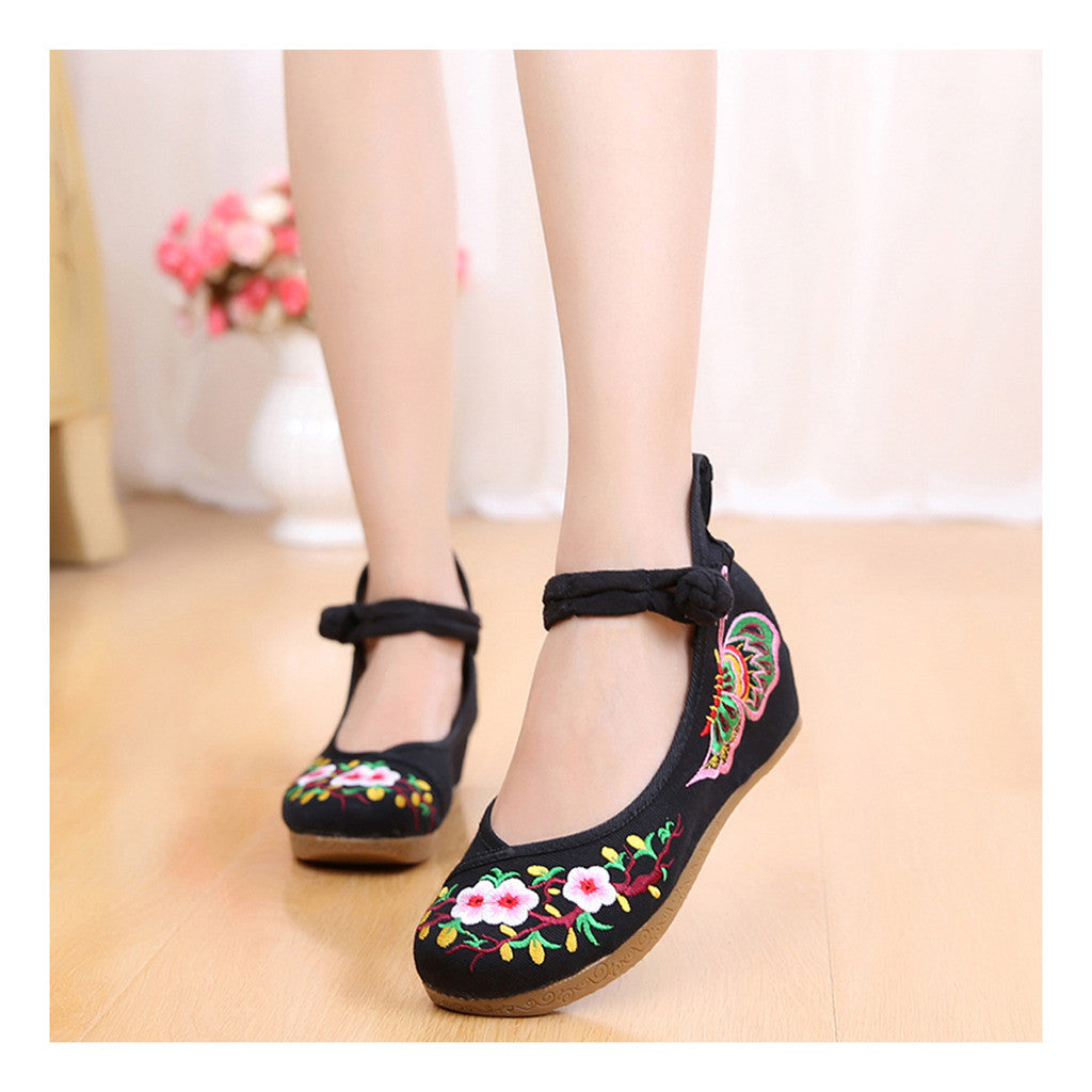 Old Beijing Embroidered Sunflower Black Shoes for Women in National Style with Floral Designs & Straps - Mega Save Wholesale & Retail - 1