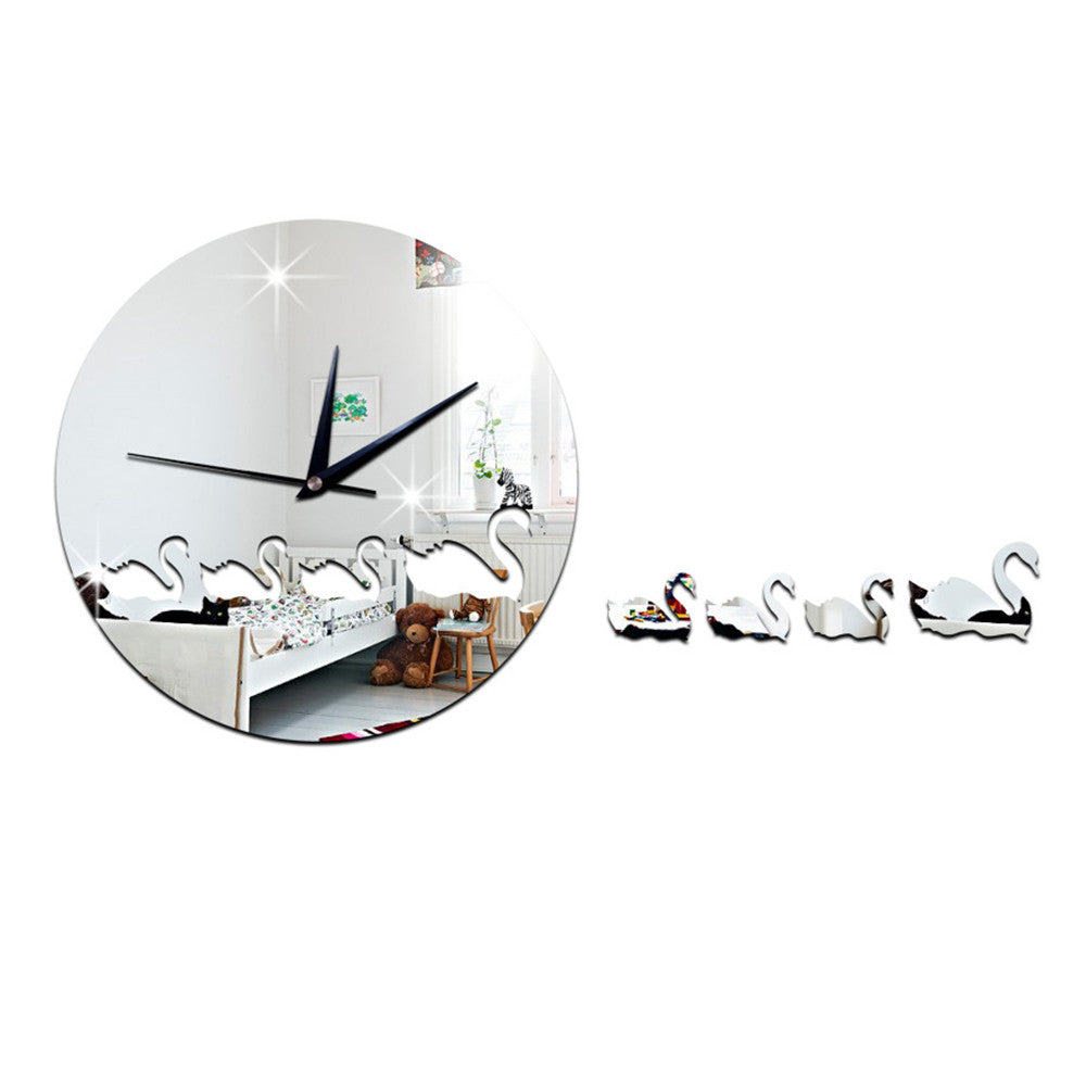 Swan Mirror Wall Clock Kid Room DIY Creative Sticking   silver - Mega Save Wholesale & Retail
