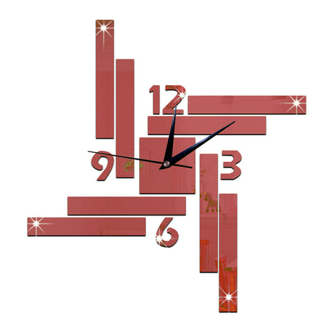 Mirror Wall Clock Stripe Blocks Geometry    red - Mega Save Wholesale & Retail