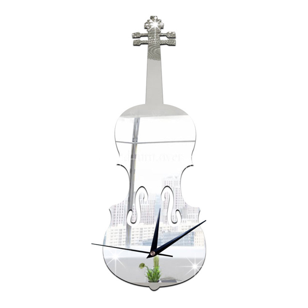 Creative Wall Clock Music Decoration Violin Mirror   silver - Mega Save Wholesale & Retail