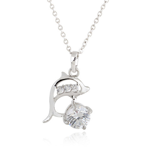 18K Gold Platinum Galvanized Austrian Zircon Necklace Dolphin  white - Mega Save Wholesale & Retail - 1