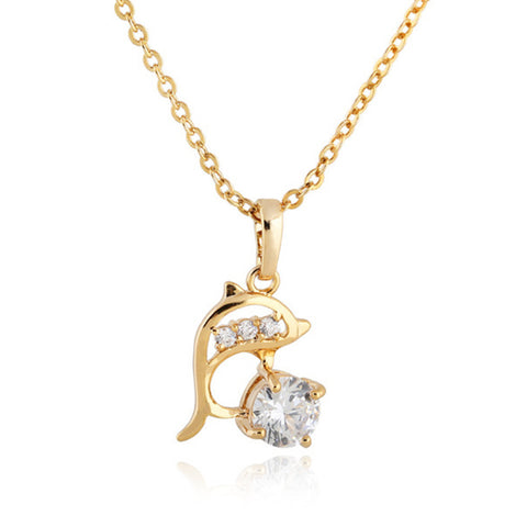 18K Gold Platinum Galvanized Austrian Zircon Necklace Dolphin  yellow - Mega Save Wholesale & Retail - 1