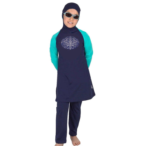 Child Muslim Swimwear Swimsuit Burqini   blue   S - Mega Save Wholesale & Retail - 1