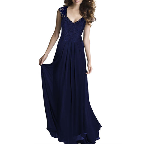 Lace Long Dress Sleeveless Hollow Backless Chiffon   navy   S - Mega Save Wholesale & Retail - 1