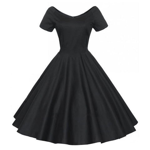 Woman Hepburn Style Dress 50s Solid Color Big Peplum    black   S - Mega Save Wholesale & Retail - 1