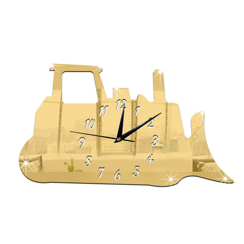 Silent Tank Mirror Wall Clock    golden - Mega Save Wholesale & Retail