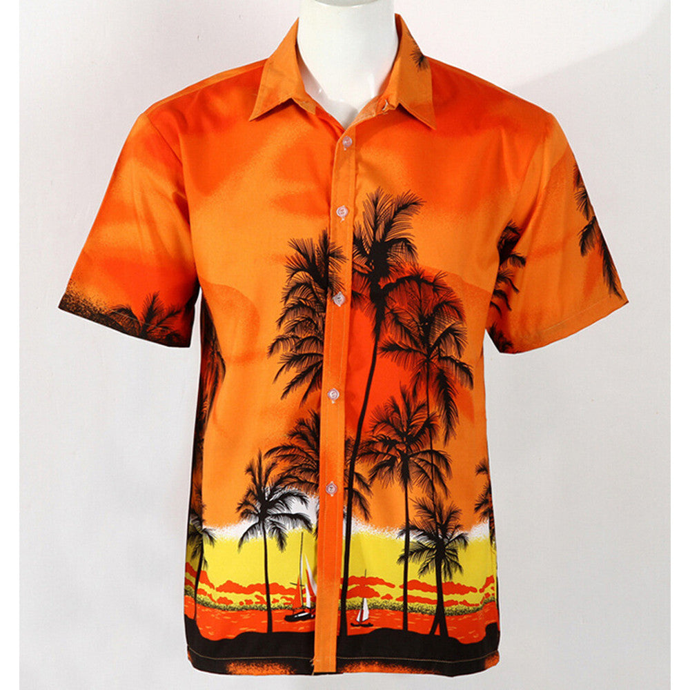 Hot LARGE SIZE Men Aloha Shirt Cruise Tropical Luau Beach Hawaiian Party Palm Sunset red  plus fat version - Mega Save Wholesale & Retail
