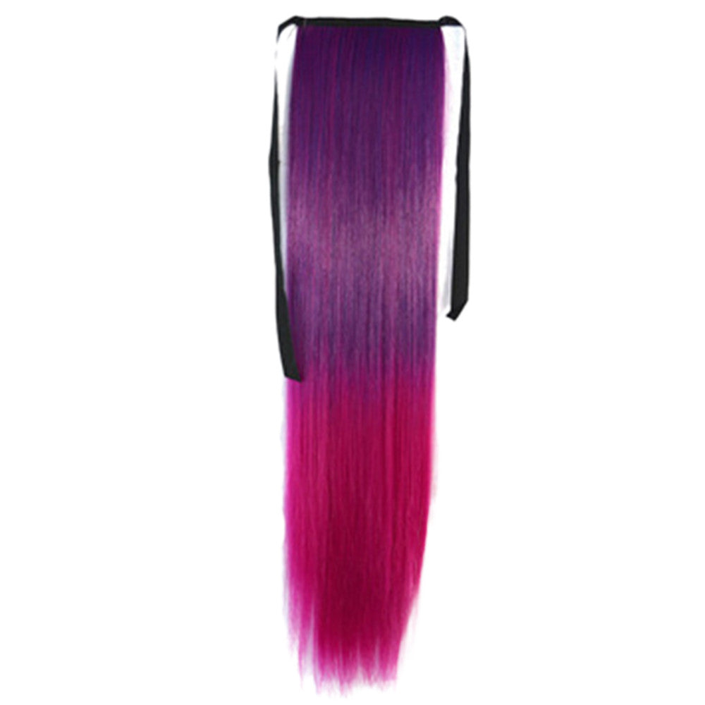 Gradient Ramp Horsetail Lace-up Straight Wig KBMW dark purple to rose red - Mega Save Wholesale & Retail - 1