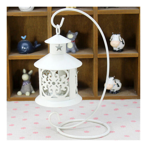 Retro Hollowed Out Iron Art Candle Holder  White - Mega Save Wholesale & Retail - 1