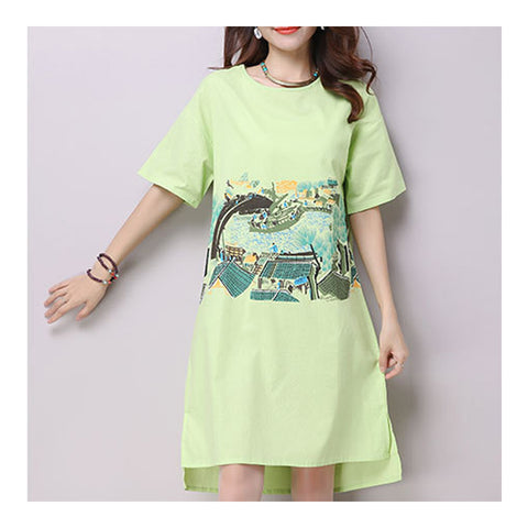 Plus Size Loose Cotton&Flax Middle Long Dress   green   M - Mega Save Wholesale & Retail - 1