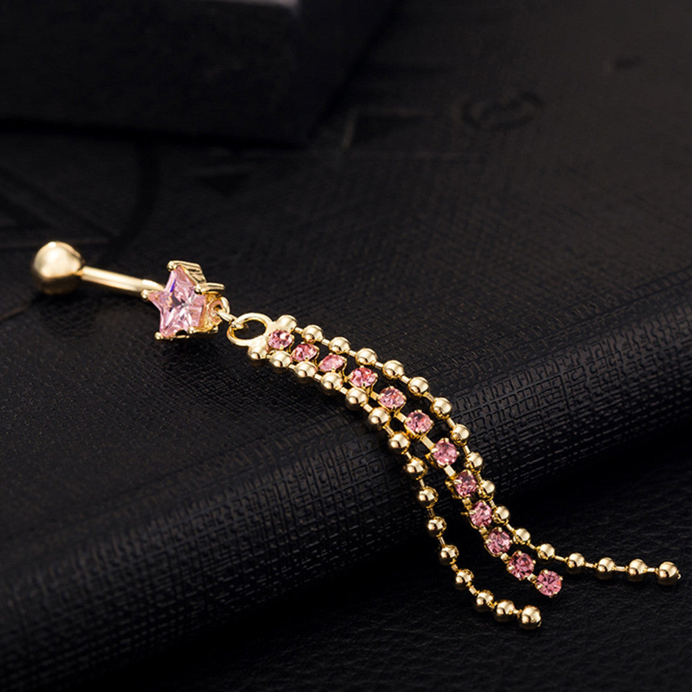 Navel Ring Buckle Ring Five-pointed Star      gold plated pink zircon - Mega Save Wholesale & Retail - 3