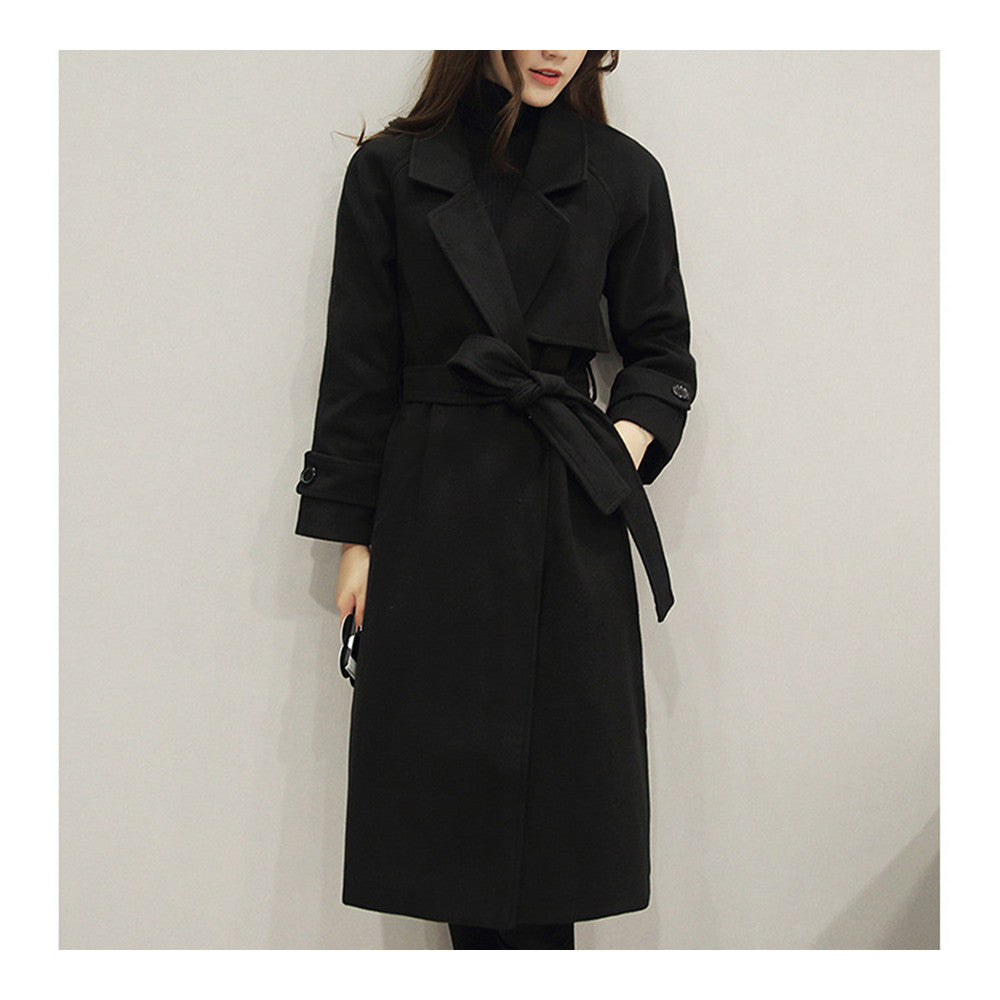 Slim Coat Middle Long Woman Fashionable   black    S - Mega Save Wholesale & Retail - 1