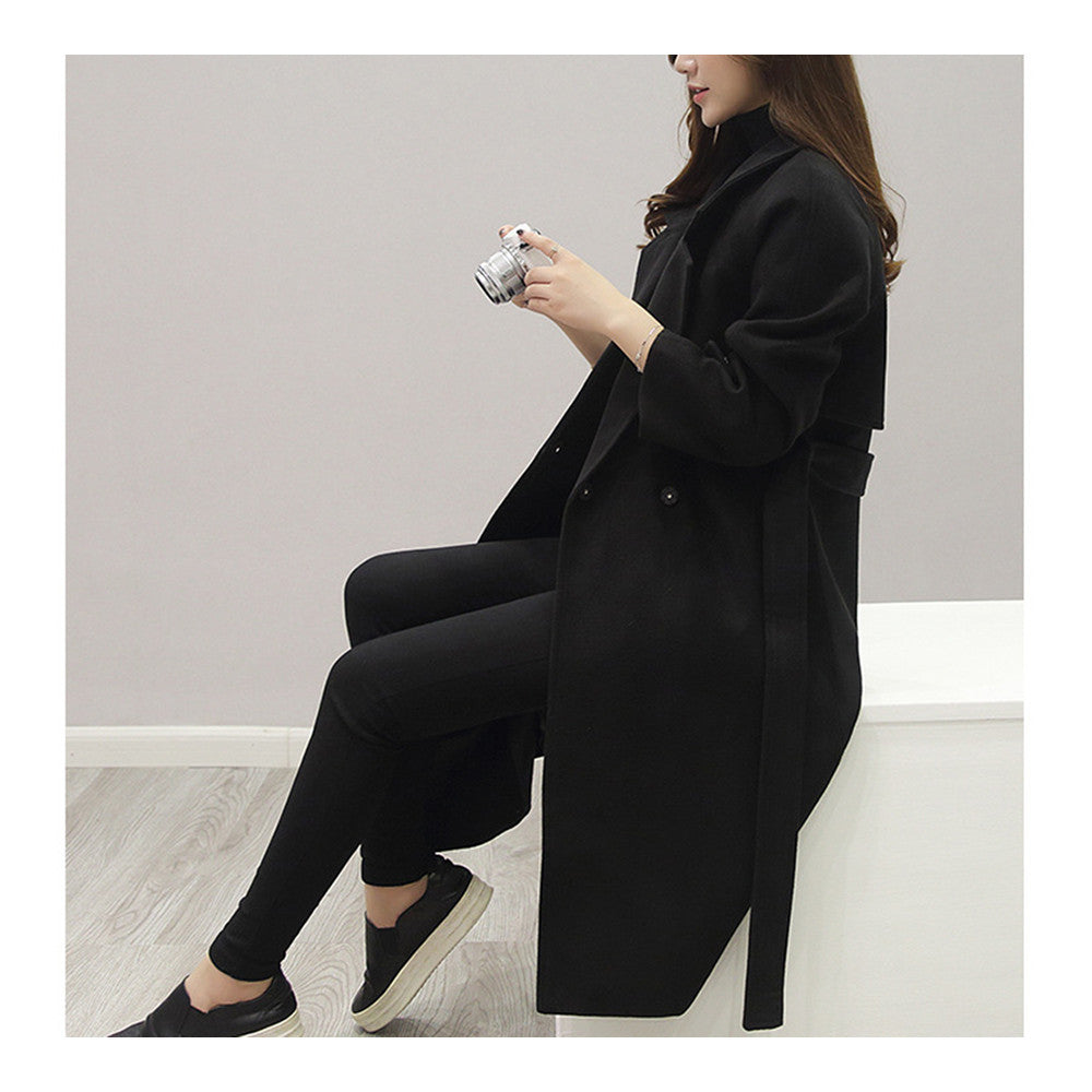 Slim Coat Middle Long Woman Fashionable   black    S - Mega Save Wholesale & Retail - 2