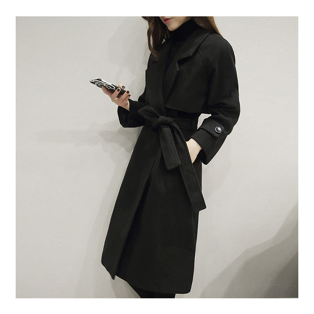 Slim Coat Middle Long Woman Fashionable   black    S - Mega Save Wholesale & Retail - 3