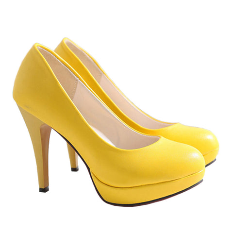 High Heel Superior PU Fashionable Women Thin Shoes  yellow  35 - Mega Save Wholesale & Retail