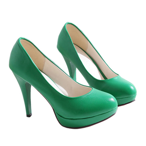 High Heel Superior PU Fashionable Women Thin Shoes  green - Mega Save Wholesale & Retail - 1