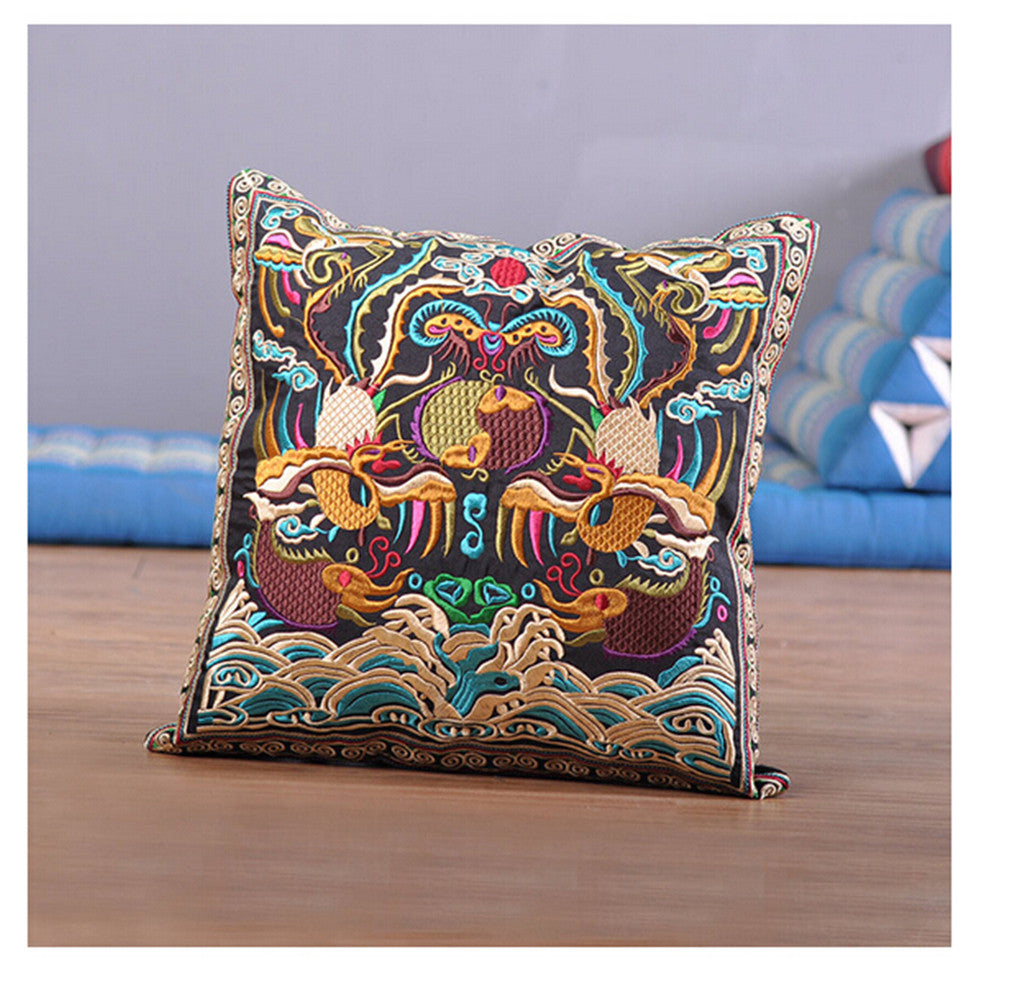 Festival Gift Original Embroidery Cushion Cover National Style Inn Hotel Embroidery Boster Case   games in lotus pool - Mega Save Wholesale & Retail - 1