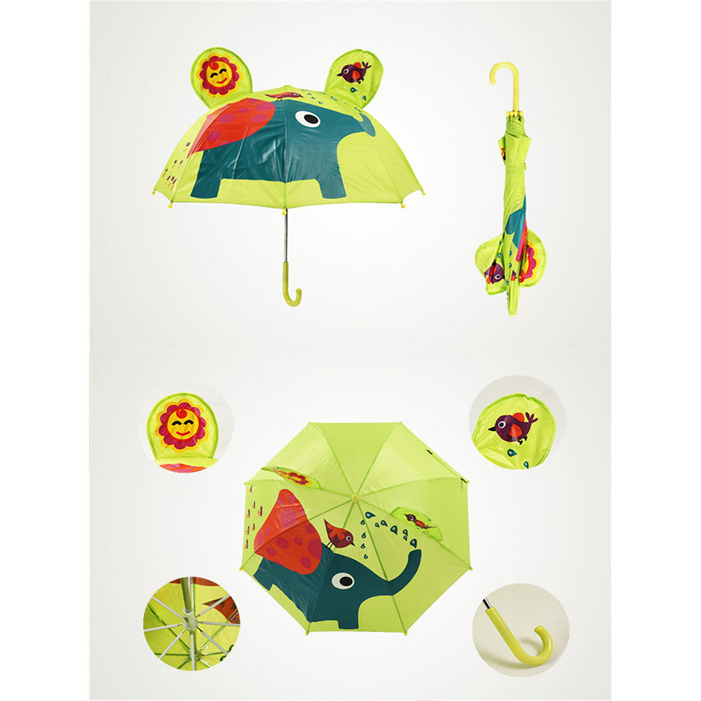 Cute Cartoon Animal Umbrella for Kids Animal Ears Bend Handle  Elephant - Mega Save Wholesale & Retail