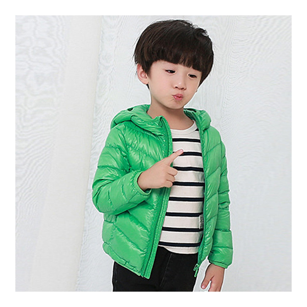 Child Thin Light Stripe Down Coat Warm Hooded Boy Girl   green   100cm - Mega Save Wholesale & Retail - 2