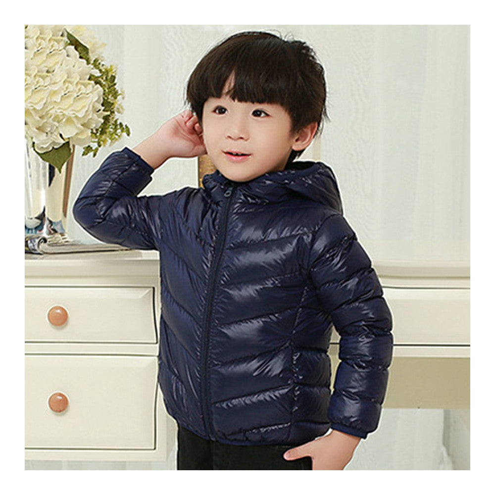 Child Thin Light Stripe Down Coat Warm Hooded Boy Girl   navy   100cm - Mega Save Wholesale & Retail - 1