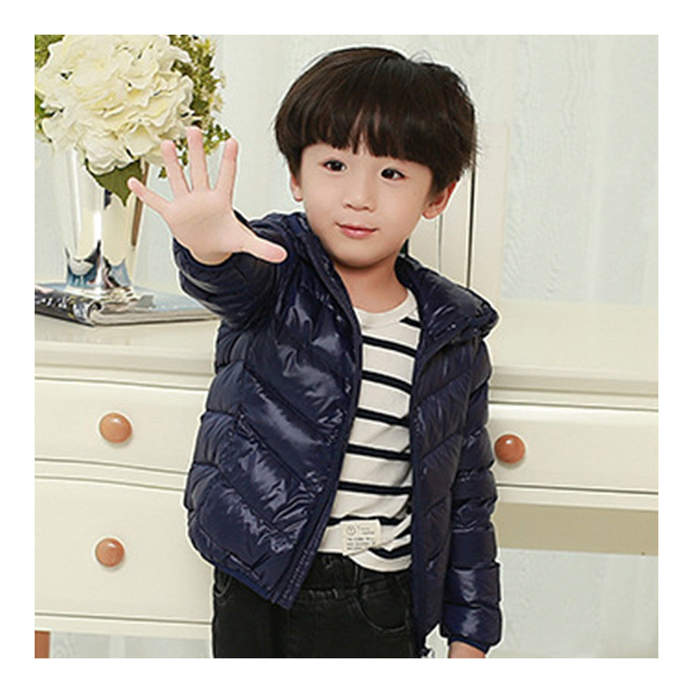 Child Thin Light Stripe Down Coat Warm Hooded Boy Girl   navy   100cm - Mega Save Wholesale & Retail - 2