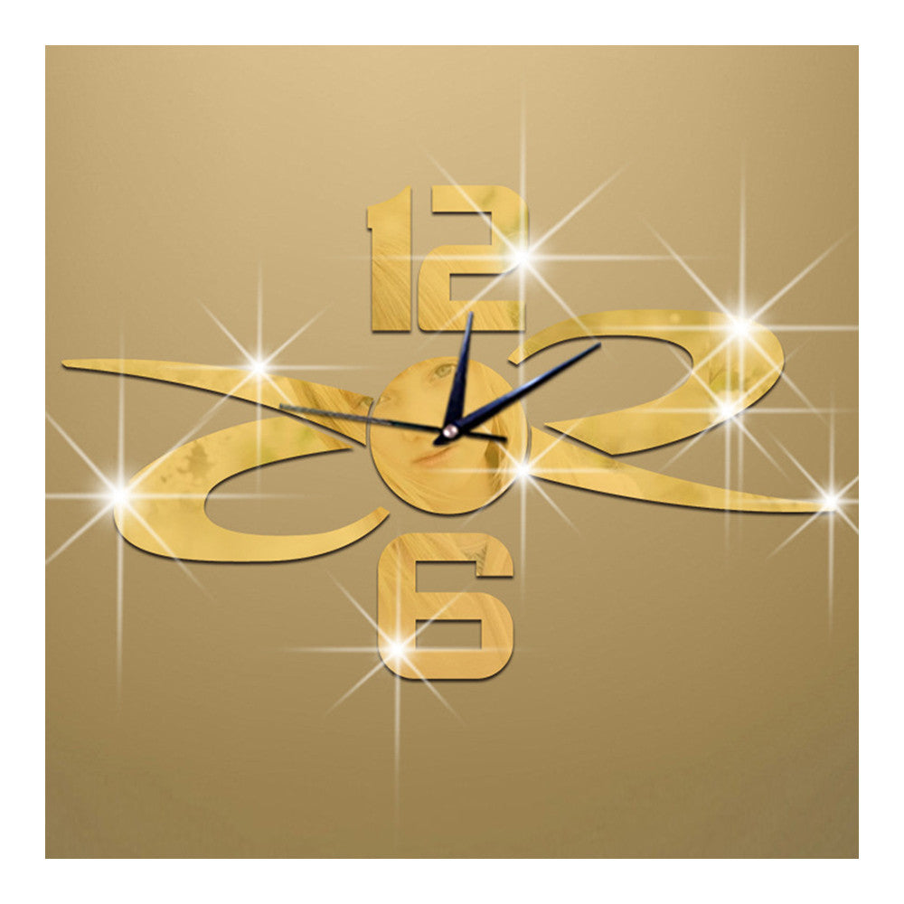 Mirror Wall Clock DIY Creative Sticking   golden - Mega Save Wholesale & Retail
