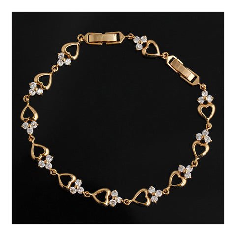 18K Gold Galvanized Loving Heart Austrian Zircon Bracelet - Mega Save Wholesale & Retail - 1