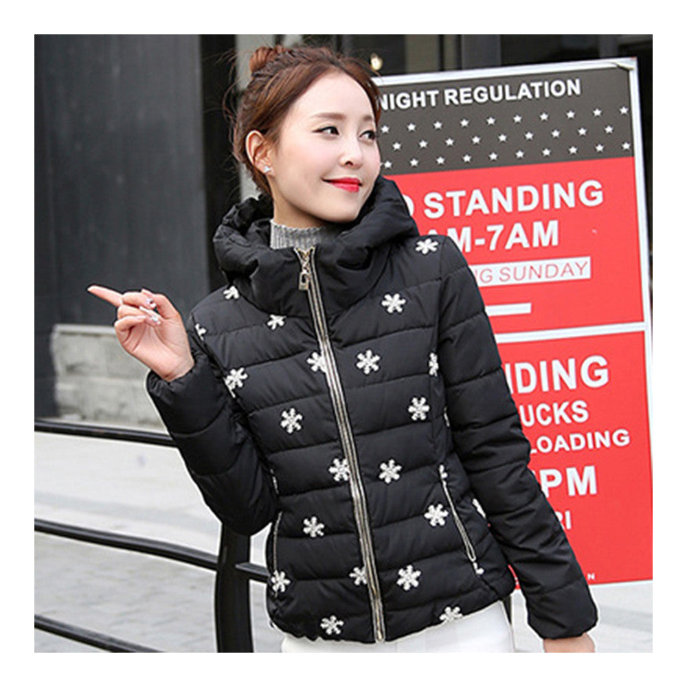 Winter Slim Embroidered Hooded Woman Down Coat   black   M - Mega Save Wholesale & Retail - 1