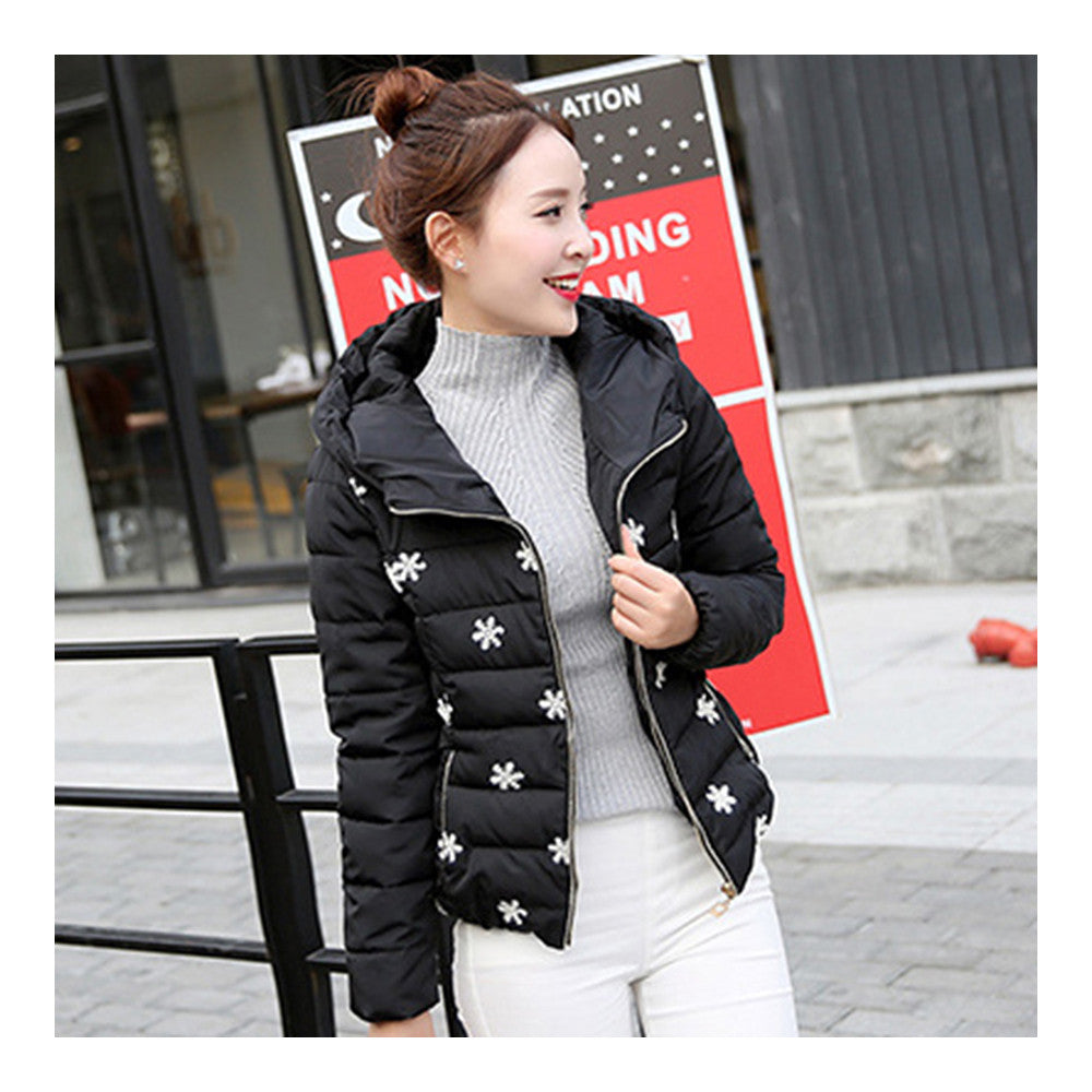 Winter Slim Embroidered Hooded Woman Down Coat   black   M - Mega Save Wholesale & Retail - 3