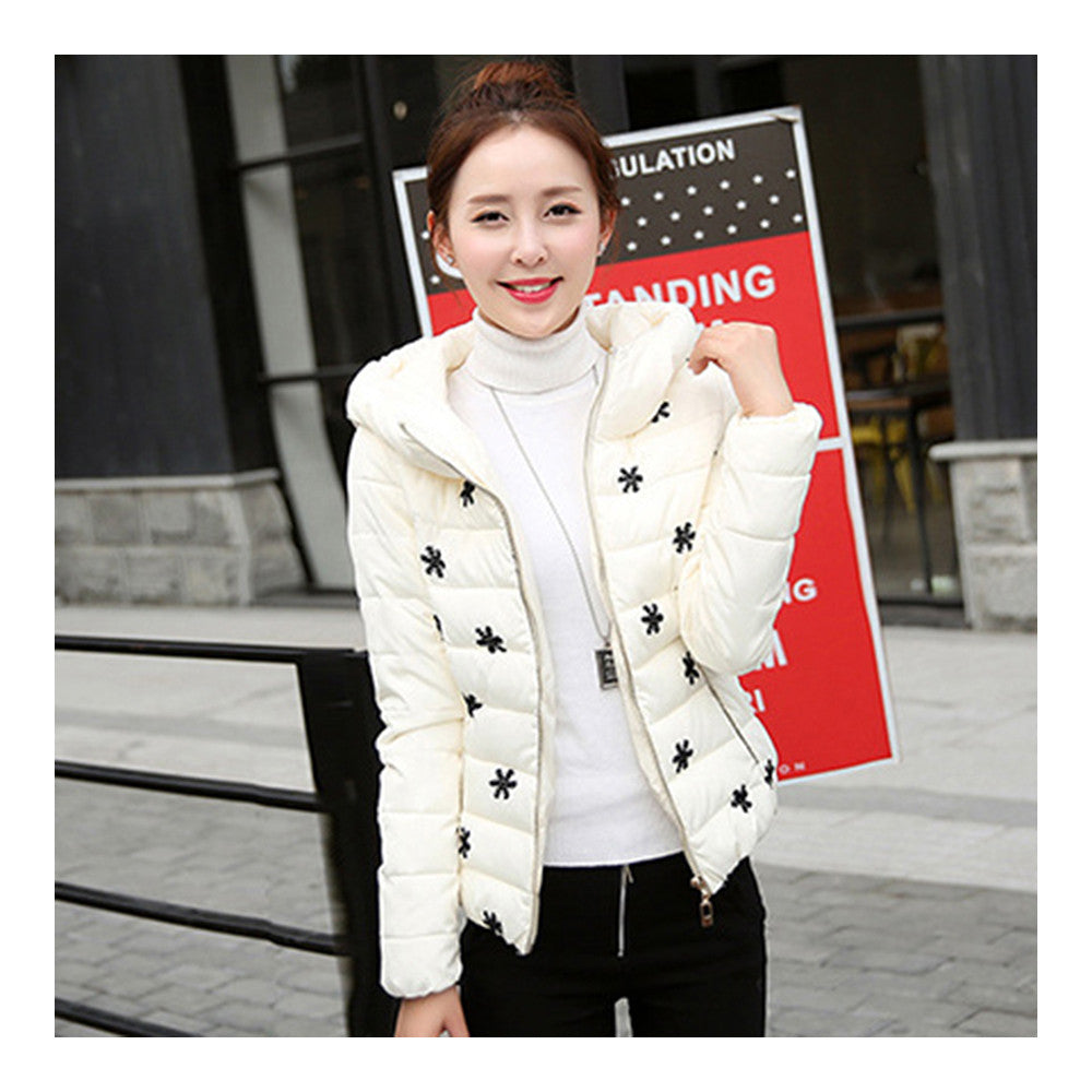Winter Slim Embroidered Hooded Woman Down Coat   cream white   M - Mega Save Wholesale & Retail - 1