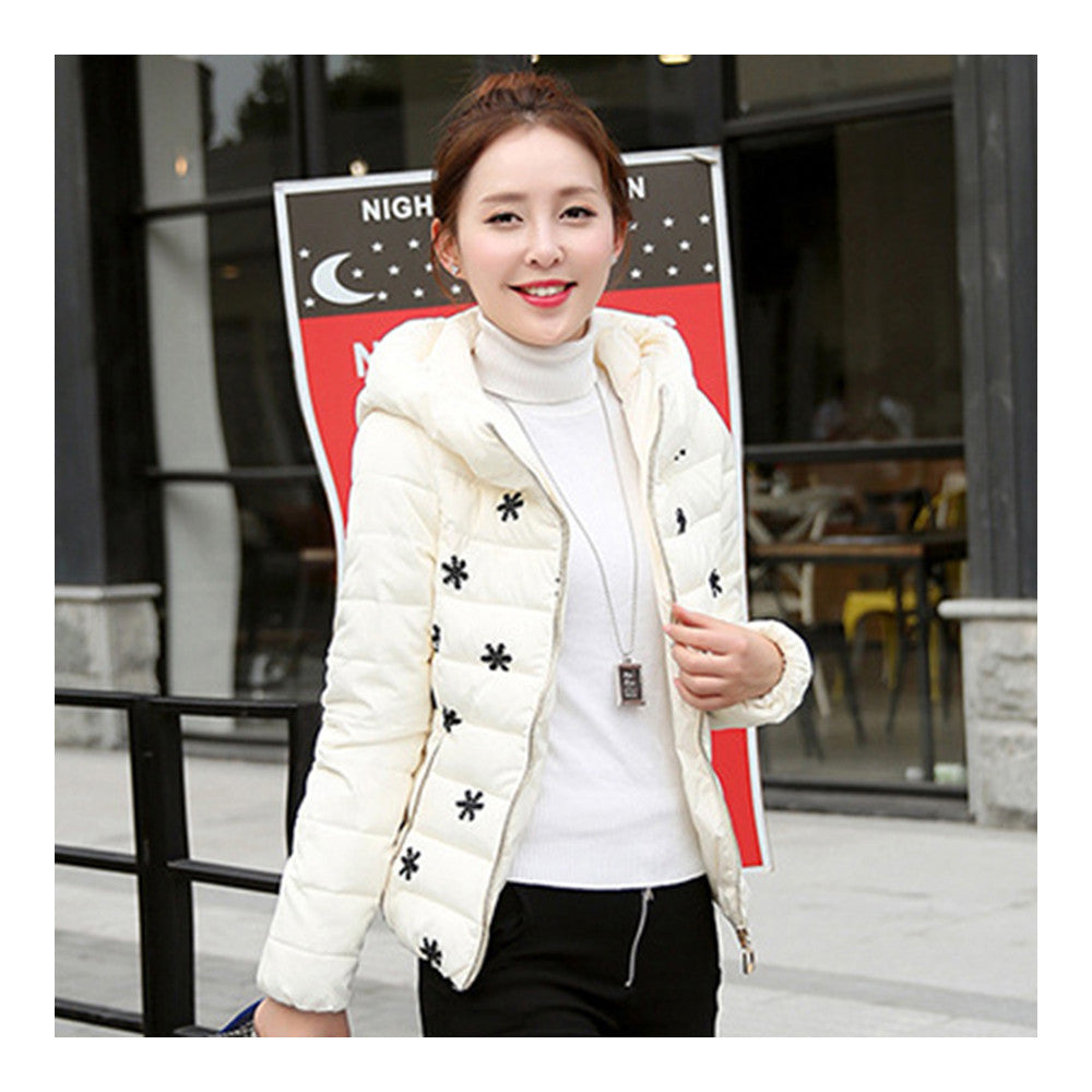 Winter Slim Embroidered Hooded Woman Down Coat   cream white   M - Mega Save Wholesale & Retail - 3
