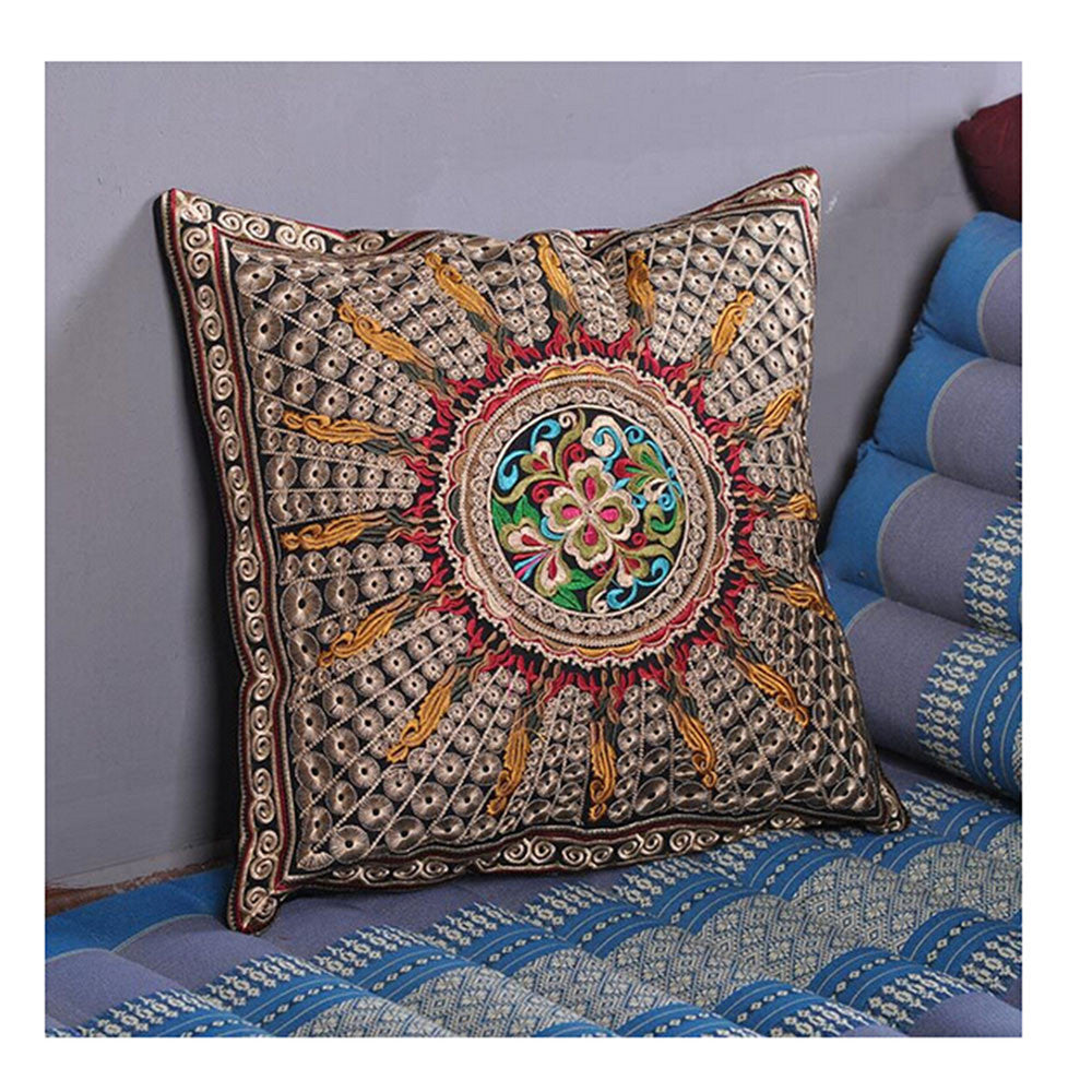 Festival Gift Original Embroidery Cushion Cover National Style Inn Hotel Embroidery Boster Case   sunflower - Mega Save Wholesale & Retail - 1