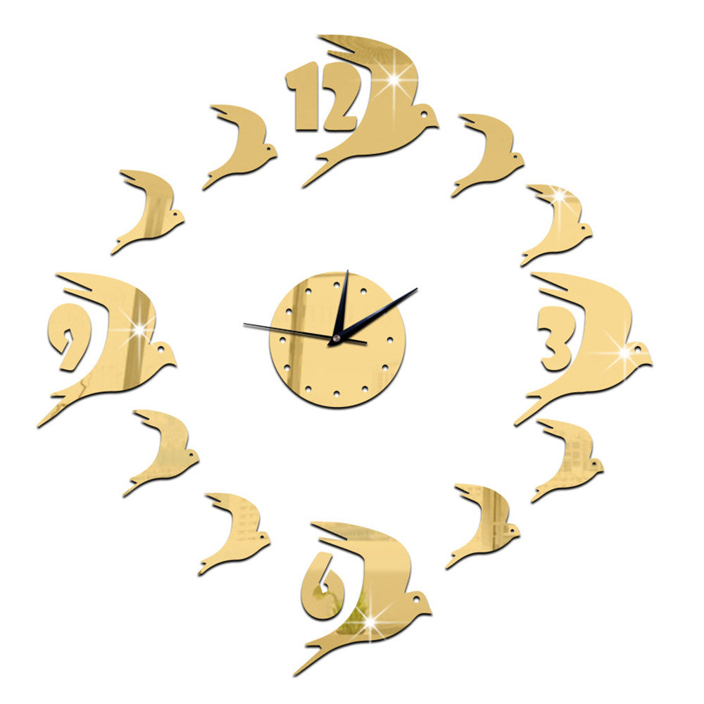 3D Acrylic Wall Clock Swallow Mirror    golden - Mega Save Wholesale & Retail