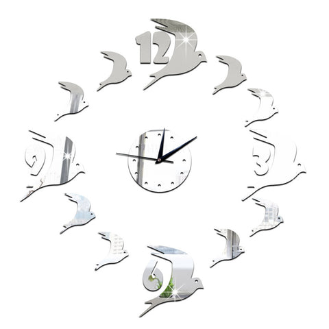 3D Acrylic Wall Clock Swallow Mirror    silver - Mega Save Wholesale & Retail