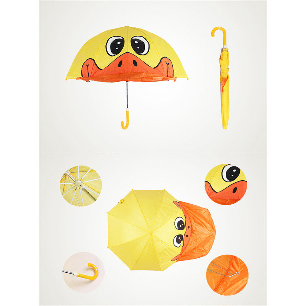 Cute Cartoon Animal Umbrella for Kids Animal Ears Bend Handle   Big yellow duck - Mega Save Wholesale & Retail