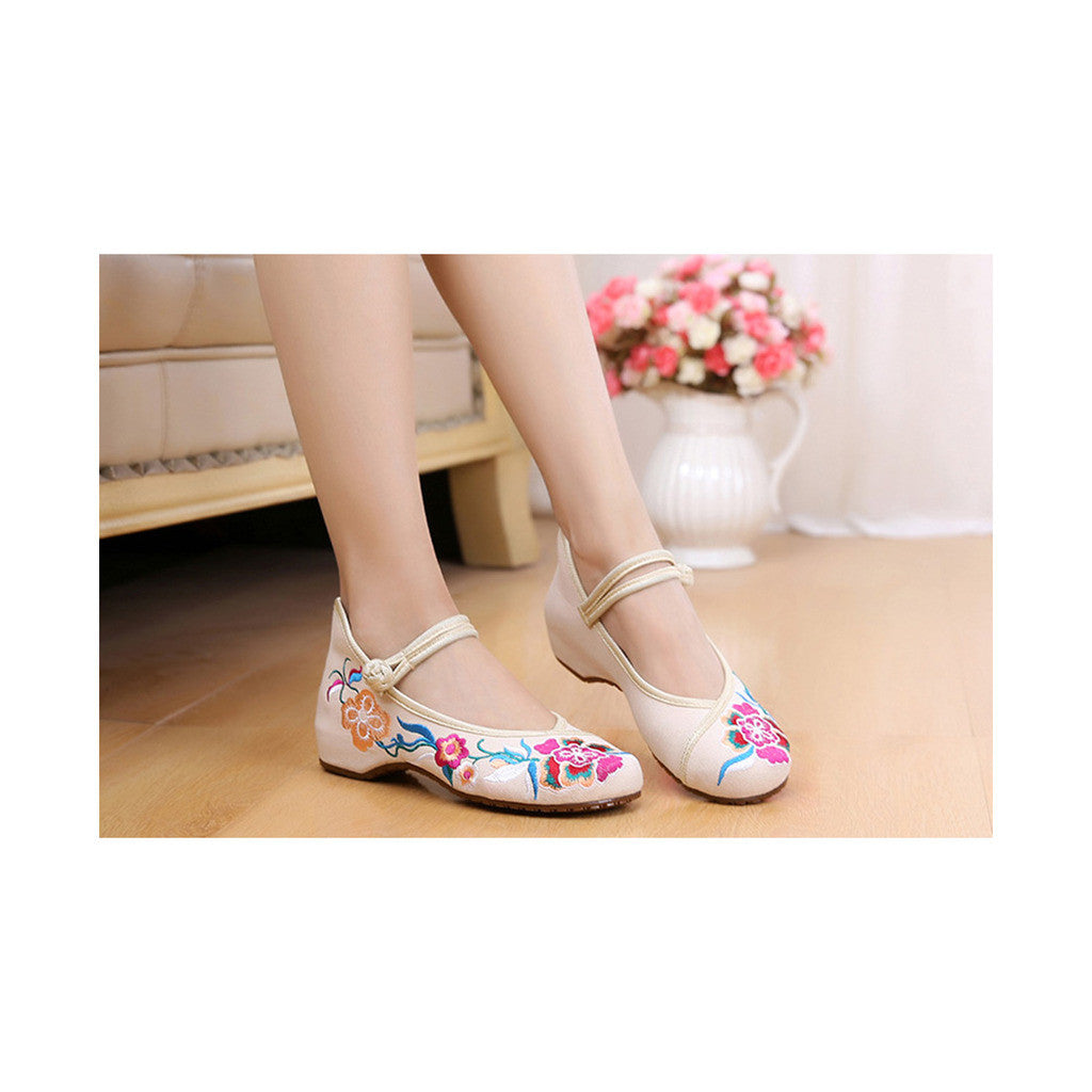 Old Beijing Beige Embroidered Shoes Online in Slipsole Low Cut National Vintage Fashion - Mega Save Wholesale & Retail - 3